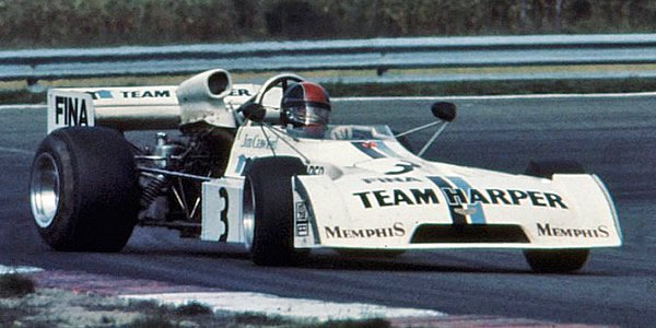 Jim Crawford guest-driving the Team Harper Chevron B27-BMW at Nogaro in 1974. Copyright Ted Walker (Ferret Fotographics)  2014. Used with permission.