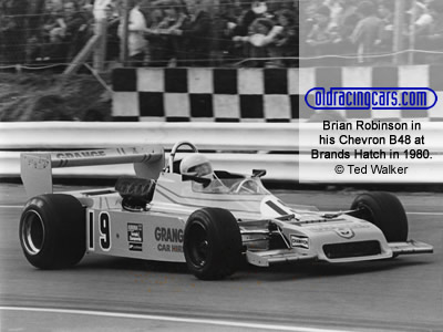Brian Robinson in his Chevron B48 at an Aurora BF1 race at Brands Hatch in 1980. Copyright Ted Walker 2020. Used with permission.