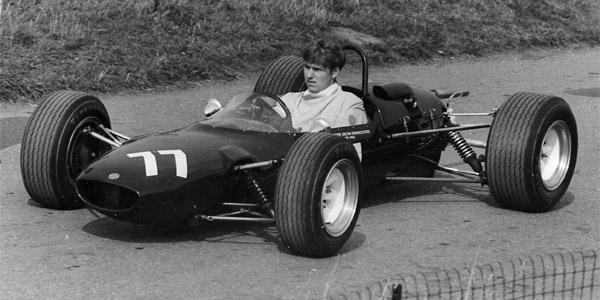 Roger Keele in Alan McKechnie's Cooper T83 at Castle Combe in 1967, showing the modification to outboard front springs and dampers. Copyright Ted Walker  2019. Used with permission.