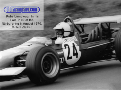 Robs Lamplough in his Lola T100 at the Nürburgring in August 1970. Copyright Ted Walker 2020. Used with permission.