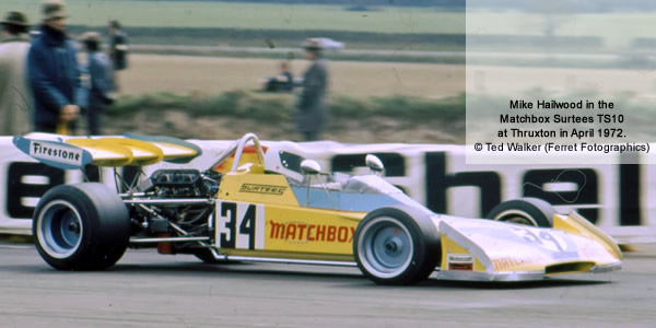 Mike Hailwood in the Matchbox Surtees TS10 at Thruxton in April 1972. Copyright Ted Walker (Ferret Fotographics)  2012. Used with permission.