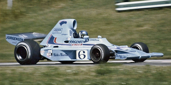Brett Lunger in the AAR Jorgensen Eagle Formula 5000 at Road America in 1974. Copyright Larry Fulhorst  2017. Used with permission.