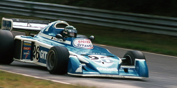 Jacques Laffite in the Ligier JS5 at the 1976 British Grand Prix. Copyright Gillfoto  2017. Used with permission.