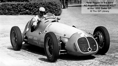 Nello Pagani in the third AC Argentina Maserati 4CLT at the 1950 Swiss GP.  Copyright The GP Library 2011.  Used with permission.
