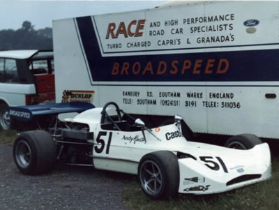 Andy Rouse's March 73B by the Broadspeed transporter at Mallory Park in June 1974. Copyright Rich Harman 2009. Used with permission.
