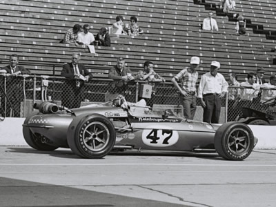 The #49 Weinberger Eagle-Offy at the Speedway in 1967 before Norm Brown crashed it.  Part of the Dave Friedman collection. Licenced by The Henry Ford under Creative Commons licence Attribution-NonCommercial-NoDerivs 2.0 Generic. Original image has been cropped.