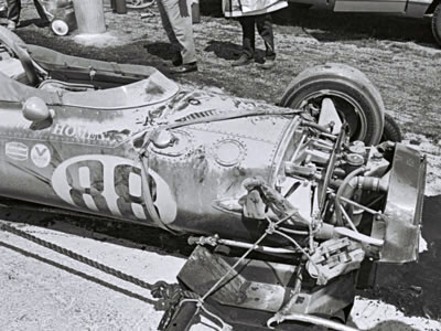The Pacesetter Homes Eagle after it was crashed by Jochen Rindt during practice. Part of the Dave Friedman collection. Licenced by The Henry Ford under Creative Commons licence Attribution-NonCommercial-NoDerivs 2.0 Generic. Original image has been cropped.