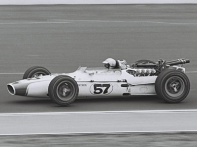 Bob Harkey in Ken Brenn's Gerhardt-Ford at the Speedway in 1967.  Part of the Dave Friedman collection. Licenced by The Henry Ford under Creative Commons licence Attribution-NonCommercial-NoDerivs 2.0 Generic. Original image has been cropped.