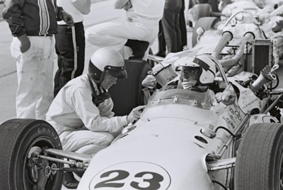 Ronnie Bucknum in Gordon Van Liew's Vita-Fresh Orange Juice Gerhardt at Indy in 1967.  Part of the Dave Friedman collection. Licenced by The Henry Ford under Creative Commons licence Attribution-NonCommercial-NoDerivs 2.0 Generic. Original image has been cropped.