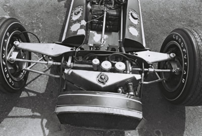 The front suspension of Leader Cards' brand new #4 Gerhardt at Phoenix in March 1966.  Part of the Dave Friedman collection. Licenced by The Henry Ford under Creative Commons licence Attribution-NonCommercial-NoDerivs 2.0 Generic. Original image has been cropped.