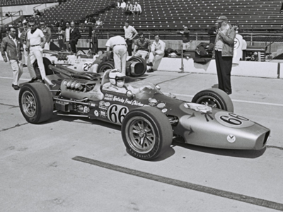 Johnny Boyd in George Harm's #66 KFC Gerhardt in practice for at the 1967 Indy 500. Part of the Dave Friedman collection. Licenced by The Henry Ford under Creative Commons licence Attribution-NonCommercial-NoDerivs 2.0 Generic. Original image has been cropped.