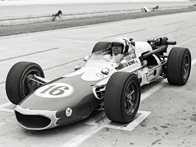 Art Pollard in Don Gerhardt's #16 Thermo King entry at the 1967 Indy 500. Part of the Dave Friedman collection. Licenced by The Henry Ford under Creative Commons licence Attribution-NonCommercial-NoDerivs 2.0 Generic. Original image has been cropped.
