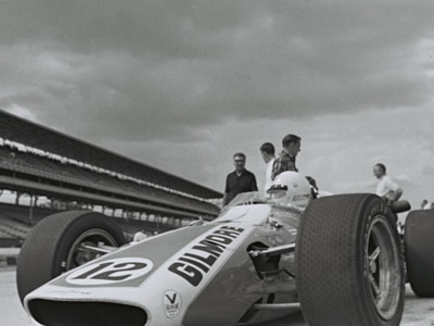 The front of Gordon Johncock's 1968 Gerhardt, seen here during practice for the 1969 Indy 500. Part of the Dave Friedman collection. Licenced by The Henry Ford under Creative Commons licence Attribution-NonCommercial-NoDerivs 2.0 Generic. Original image has been cropped.