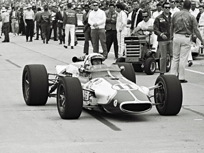 The #11 Thermo King Gerhardt at the Indianapolis Motor Speedway in 1969. Part of the Dave Friedman collection. Licenced by The Henry Ford under Creative Commons licence Attribution-NonCommercial-NoDerivs 2.0 Generic. Original image has been cropped.