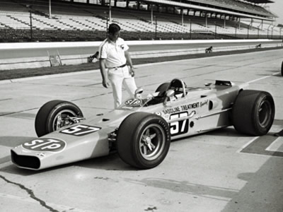 Carl Williams drove Grant King's STP-backed Gerhardt wedge at the 1969 Indy 500. Part of the Dave Friedman collection. Licenced by The Henry Ford under Creative Commons licence Attribution-NonCommercial-NoDerivs 2.0 Generic. Original image has been cropped.