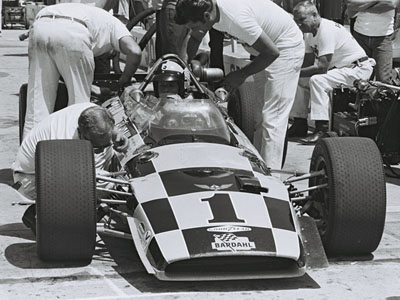 Bobby Unser in the Lola T152 at Indianapolis in 1969. Licenced by The Henry Ford under Creative Commons licence Attribution-NonCommercial-NoDerivs 2.0 Generic. Original image has been cropped.