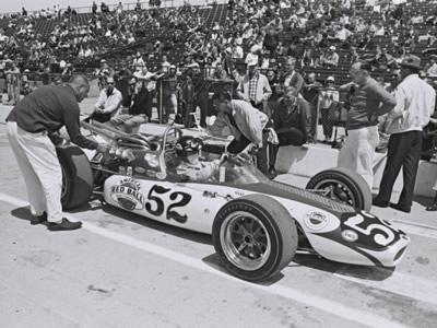 Lee Roy Yarbrough in the #52 Gene White Mongoose in the all too brief period before it was destroyed at Indy in 1967. Part of the Dave Friedman collection. Licenced by The Henry Ford under Creative Commons licence Attribution-NonCommercial-NoDerivs 2.0 Generic. Original image has been cropped.