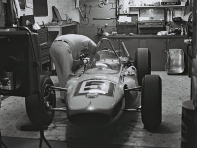 Don Branson's Watson-Offy receives some late-night attention in the Leader Card Racers garage at Indy in 1964.  Part of the Dave Friedman collection. Licenced by The Henry Ford under Creative Commons licence Attribution-NonCommercial-NoDerivs 2.0 Generic. Original image has been cropped.