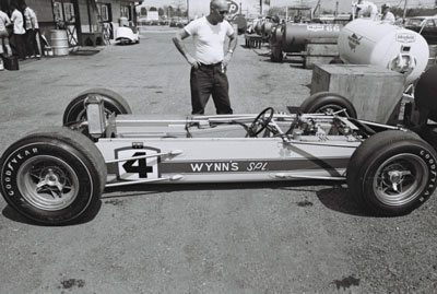 The epitome of a simple bathtub monocoque: Don Branson's Watson in the paddock at Indy in 1965.  Part of the Dave Friedman collection. Licenced by The Henry Ford under Creative Commons licence Attribution-NonCommercial-NoDerivs 2.0 Generic. Original image has been cropped.