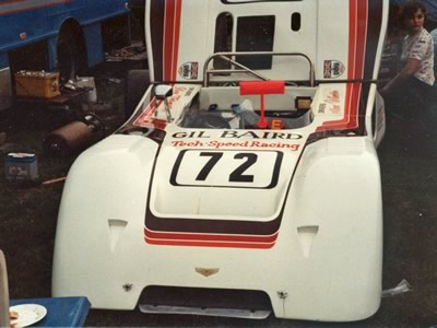 Gil Baird's Tech-Speed Racing Chevron B19 in the Oulton Park paddock in June 1983. Copyright Peter Howarth 2011. Used with permission.