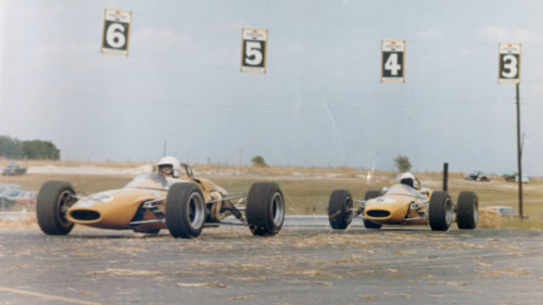 Gus Hutchison's team of Lotus 41s on their way to another victory. Copyright Gus Hutchison 2009.  Used with permission.