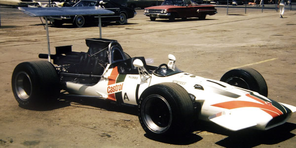 David Hobbs' brand new Surtees TS5A at Dallas in 1970. Copyright David Hutson 2006. Used with permission.