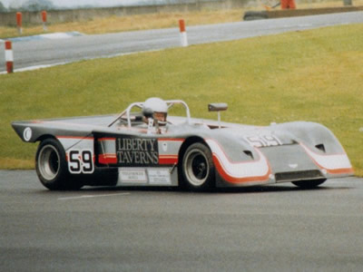 Andrew Marler in his Chevron B19 at Donington Park in July 1987. Copyright Jeremy Jackson 2009. Used with permission.
