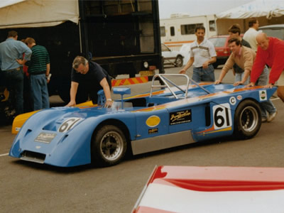 The Chevron B19 of Jonas Qvarnström in the paddock at Donington Park in July 1990. Copyright Jeremy Jackson 2009 . Used with permission.