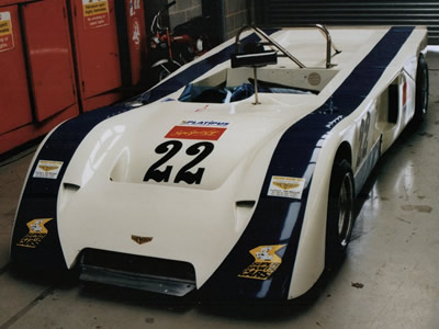 Kent Abrahamsson's Chevron B19 in the garage at Silverstone in May 1997. Copyright Jeremy Jackson 2009. Used with permission.