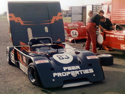 Martin Birrane's Chevron B19 at Silverstone in May 1986. Alongside are Roger Andreason's crew hard at work on Tony Gordon's B19. Copyright Jeremy Jackson 2009. Used with permission.