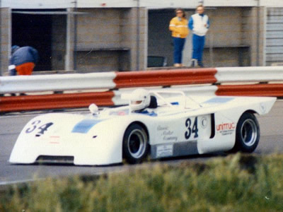 Richard Eyre in his Chevron B19 at Silverstone in June 1986. Copyright Jeremy Jackson 2009. Used with permission.