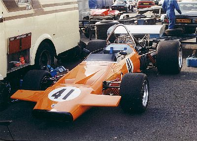 Roger Ealand's McLaren M18 at Donington Park in September 1993.  Copyright Jeremy Jackson 1993.  Used with permission.