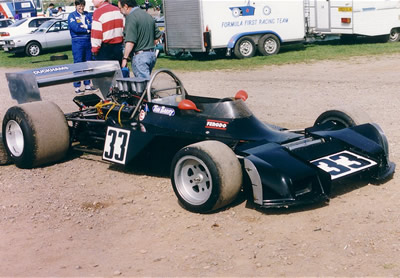 Tim Barry's ex-Ian Ward Trojan T102 at Mallory Park in May 1994. Copyright Jeremy Jackson  2001. Used with permission.