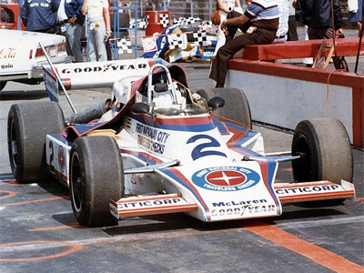 Johnny Rutherford's First National City Travellers Checks McLaren M24 at Pocono in 1977. Copyright Jim Knerr 2020. Used with permission.