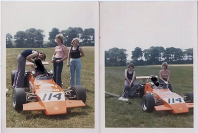 Two snaps of Geoff Lambert's Brabham BT38C in 1973. Copyright John Lambert 2021. Used with permission.