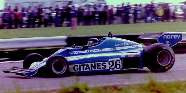 Jacques Laffite in the Ligier JS7 at the 1977 British Grand Prix. Copyright Martin Lee  2017. Used with permission.