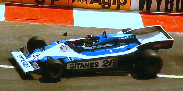Jacques Laffite in the brand new Ligier JS9 at its first appearance, the 1978 Monaco Grand Prix. Copyright Martin Lee  2017. Used with permission.