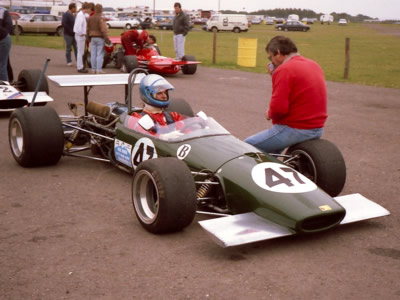 Adrian Thomas at Silverstone for a HSCC race in September 1986 with Brabham BT23C/12. Copyright Keith Lewcock 2015. Used with permission.
