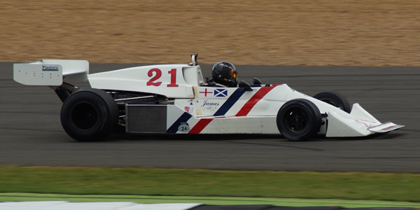 Derek Jones in the restored Hesketh 308C at the Silverstone Classic in July 2016. Copyright Keith Lewcock  2017. Used with permission.