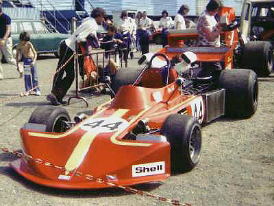 Mick Hill's March 74A/1 in the paddock at Mallory Park in 1975. Copyright Simon Lewis 2004. Used with permission.