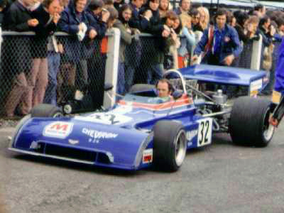 Peter Gethin taking his Chevron B24 to the track for the 1973 Race of Champions. Copyright Simon Lewis  2004. Used with permission.