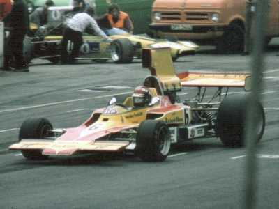 Ian Ashley with T330 HU17 at Brands Hatch in 1973.  Copyright Simon Lewis 2004.  Used with permission.