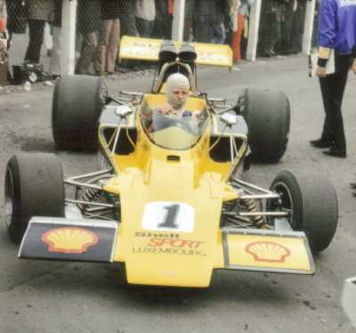 Gijs van Lennep and T330 HU18 at Brands Hatch 1973.  Copyright Simon Lewis 2004.  Used with permission.