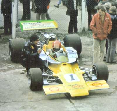Gijs van Lennep and T330 HU18 at Snetteron 1973.  Copyright Simon Lewis 2004.  Used with permission.