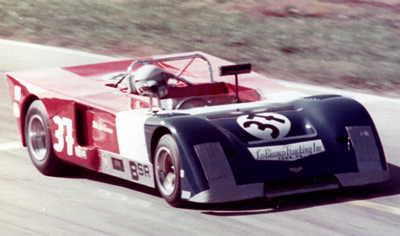Pete W LoBianco in the family Chevron B19 at the 1976 SCCA Runoffs. Copyright Pete W. LoBianco 2009. Used with permission.