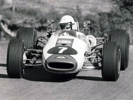 Wayne Spears in Pete Roberts' Brabham BT21C in late 1969 or early 1970. Copyright John Lo Bosco 2020. Used with permission.
