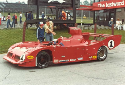 Jeff Wood's Carl Haas Lola T530 at Mosport Park in June 1981, the opening race of the 1981 season.  Note that this car has a 1980 nose, unlike his race car which had a VDS-style nose since late 1980. Copyright Shaun Lumley  2000. Used with permission.