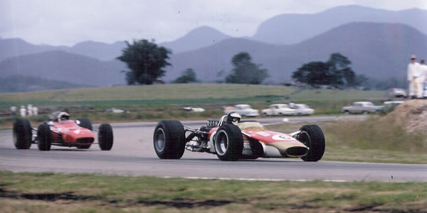 Jim Clark leads Chris Amon at Surfers Paradise in 1968.  Copyright Rod Mackenzie 2012.  Used with permission.