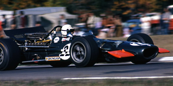 George Eaton had a turn in the rent-a-drive BRM P138 at the 1969 US GP, the last appearance of one of the unloved P138s. Copyright Norm MacLeod  2017. Used with permission.