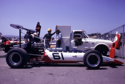 Lou Pavesi's modified McLaren M10A at Laguna Seca at the start of the 1970 season. Copyright Mark Manroe  2006. Used with permission.